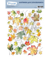Набор картинок для скрапбукинга Осенние листья, лист 19.5х25 см