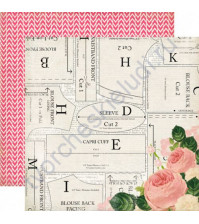 Бумага для скрапбукинга двусторонняя коллекция Sew Lovely Collection, 30.5х30.5 см, 180 гр/м, лист Beautiful Blouse