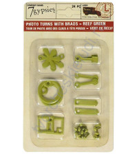 Набор фигурных анкеров с брадсами Photo Turn Shapes Kit, 24 элемента, цвет зеленый риф