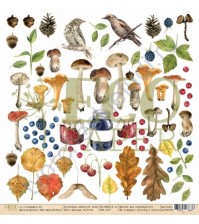Бумага для скрапбукинга односторонняя коллекция Осенний лес, 30.5х30.5 см, 250 гр/м, лист Лесные жители