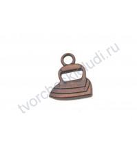 Подвеска металлическая Утюг, 18х15 мм, цвет медь