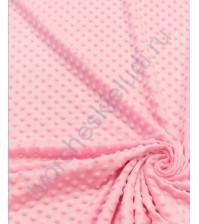 Ткань плюш Минки горошины, размер 50х50 см, 100% полиэстер, цвет нежно-розовый