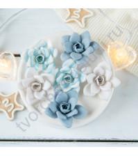 Цветы ручной работы из ткани и замши Снежная королева, 6 шт