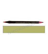 Двусторонний акварельный Маркер и Кисть от ZIG (Kuretake), цвет бледно-серо-зеленый (086)