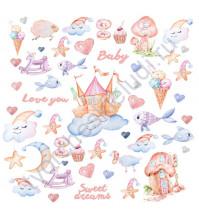 Бумага для скрапбукинга односторонняя 30.5х30.5 см, 190 гр/м, коллекция Vanilla dreams, лист Magic