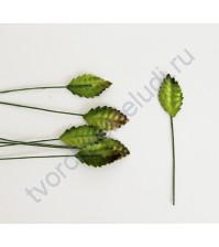 Листья розы зеленые мини 2 см, 10 шт