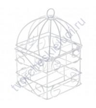 Клетка металлическая декоративная квадратная 6х6 см, цвет белый