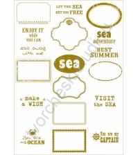 Калька с золотым рисунком для декора Frames, коллекция Sea adventure, плотность 160 гр/м2, формат А4