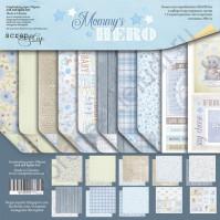 Набор двусторонней бумаги Mommy's Hero, 30.5х30.5 см, 190 гр/м, 8 двусторонних листов + 2 листа карточек