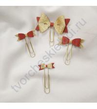 Набор декоративных Бантиков-2 на скрепках, 4 шт, цвет красный с золотом
