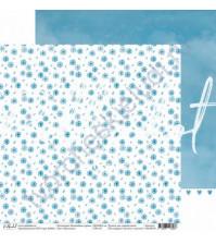 Бумага для скрапбукинга двусторонняя 30.5х30.5 см, 190 гр/м, коллекция Волшебная страна, лист Васильки