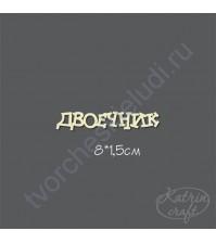 Чипборд Надпись Двоечник маленькая, 8х1,5 см