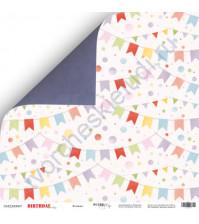 Бумага для скрапбукинга двусторонняя 30.5х30.5 см, 190 гр/м, коллекция Birthday Party, лист Флажки
