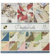 Набор двусторонней бумаги с фольгированием Postcards, 30.5х30.5 см, 36 листов (ЦЕНА УКАЗАНА ЗА 1/2 ЧАСТЬ НАБОРА - 18 листов)