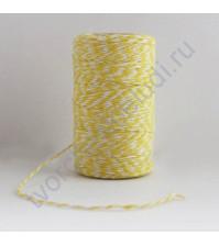 Шнур хлопковый, диаметр 1 мм, цвет желтый/белый, 1 метр