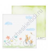 Бумага для скрапбукинга двусторонняя 30.5х30.5 см, 180 гр/м2, лист Летняя прогулка