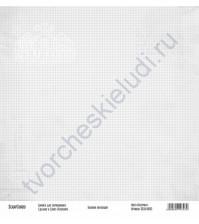 Бумага для скрапбукинга односторонняя, коллекция Базовая серая, 30х30 см, 250 гр/м2, лист Клеточки