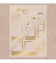 Калька декоративная с фольгированием Hello!, лист А4, плотность 180 гр/м2, цвет золото