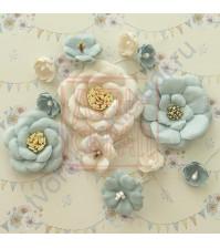 Цветы ручной работы из ткани Потешки. Мишаня, 13 штук