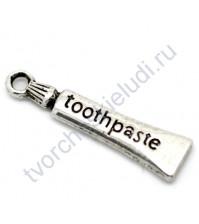 Подвеска металлическая Зубная паста, 28х7 мм, цвет серебро