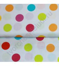 Ткань для лоскутного шитья Разноцветные круги на белом, 50х55 см