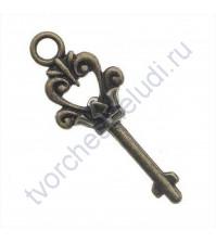 Подвеска металлическая Ключ, 37х14 мм, цвет бронза