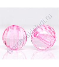 Бусина акриловая круглая граненная 15 мм, цвет розовый