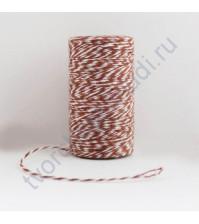 Шнур хлопковый, диаметр 1 мм, цвет шоколадный/белый, 1 метр