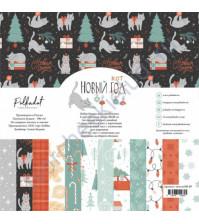 Набор бумаги Новый кот, 20х20 см, 190 гр/м, 6 двусторонних листов + 2 листа с карточками