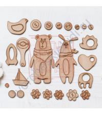 Набор декора из шпона бука на клеевом слое Потешки, 20 элементов