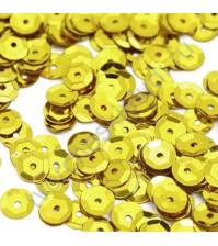 Пайетки круглые с эффектом металлик 6 мм, 10 гр, цвет яр. желтый