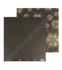 Бумага для скрапбукинга двусторонняя 30.5х30.5 см, 180 гр/м2, лист Золотые снежинки