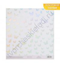 Бумага для скрапбукинга с голографическим фольгированием 20х21.5 см, 250 гр/м2, лист Порхание бабочки