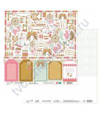 Бумага для скрапбукинга двусторонняя коллекция Ловец снов, 30.5х30.5 см, 190 гр/м, лист 7 для вырезания
