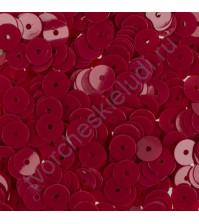 Пайетки плоские круглые с глянцевым эффектом 6 мм, 10 гр, цвет бордовый