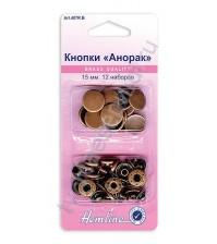 Набор декоративных кнопок 15 мм диаметр, 12 комплектов, цвет медь