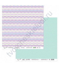 Бумага для скрапбукинга двусторонняя Мята-Лаванда, 190 гр/м2, 30.5х30.5 см, лист 3