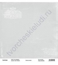 Бумага для скрапбукинга односторонняя, коллекция Базовая серая, 30х30 см, 250 гр/м2, лист Сердечки