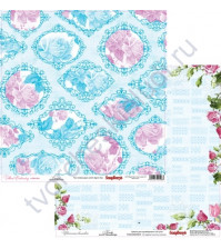 Бумага для скрапбукинга двусторонняя, коллекция Цветочная вышивка, лист Канва