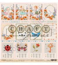 Бумага для скрапбукинга односторонняя коллекция Цветик-семицветик, 30.5х30.5 см, 190 гр/м, лист Карточки