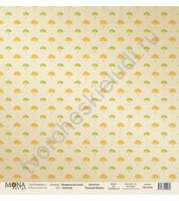 Бумага для скрапбукинга односторонняя Акварельная осень, 30.5х30.5 см, 190 гр/м, лист Зонтики