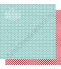 Бумага для скрапбукинга двусторонняя, коллекция Мой яркий мир, 30х30 см, 250 гр/м2, лист Красная клетка и звезды