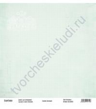 Бумага для скрапбукинга односторонняя, коллекция Базовая зеленая, 30х30 см, 250 гр/м2, лист Клеточки