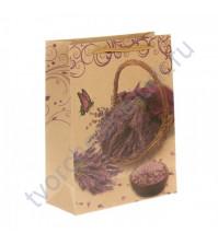 Пакет крафт Корзинка с лавандой, размер 19х24х8 см