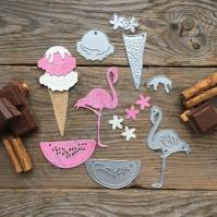 Набор ножей для вырубки Лето розового цвета, 7 элементов