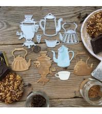 Набор ножей для вырубки и тиснения Выпьем чаю, кофею, 6 элементов