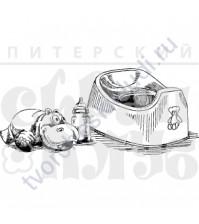 ФП печать (штамп) Натюрморт с горшком, 8.5х3.7 см