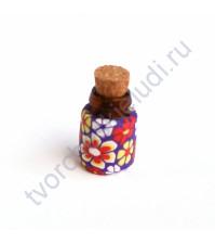 Стеклянная бутылочка с пробкой, 19х13 мм, цвет крупные цветы на сиреневом