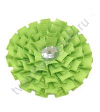 Цветок из ткани с хрустальной сердцевинкой, диаметр 8 см, цвет салатовый