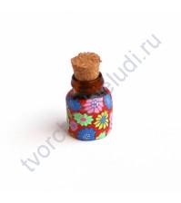 Стеклянная бутылочка с пробкой, 19х13 мм, цвет яркие цветы на красном